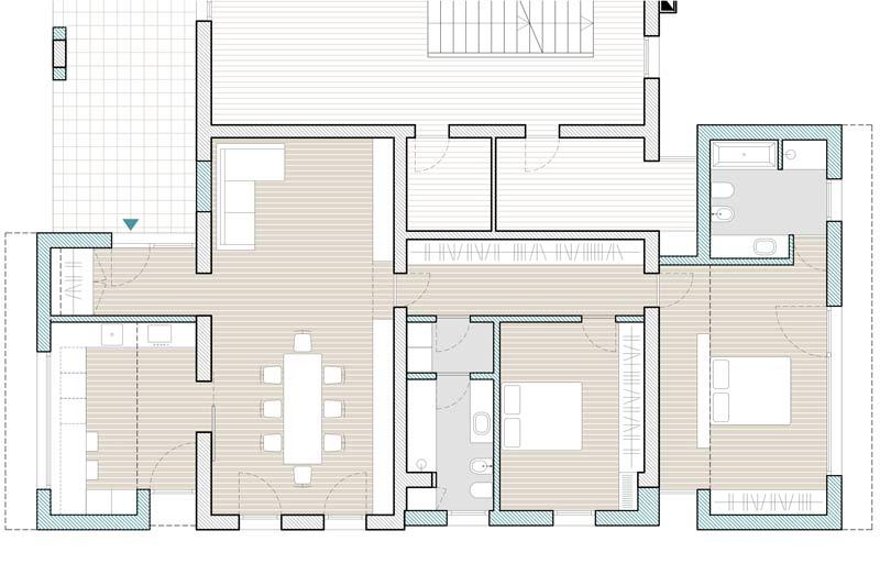 casa MG, pianta della parte ampliata